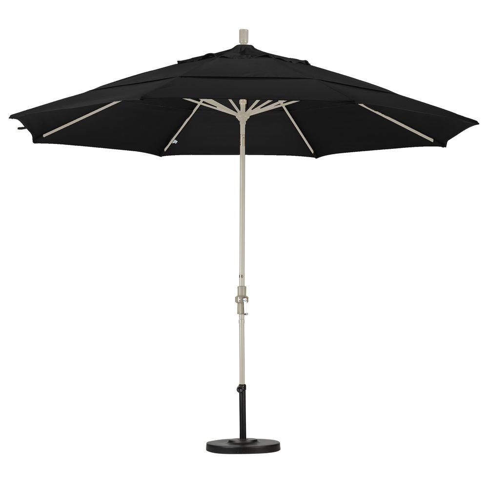 11 ft. Aluminum Collar Tilt Double Vented Patio Umbrella in Black