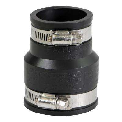 2 in. x 1-1/2 in. PVC Flexible Reducing Coupling with Stainless Steel Clamps