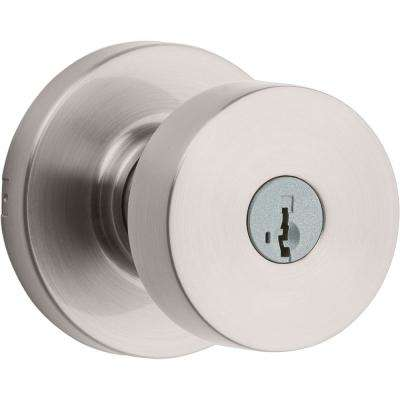 Pismo Round Satin Nickel Exterior Entry Door Knob Featuring SmartKey Security with Microban Antimicrobial Technology