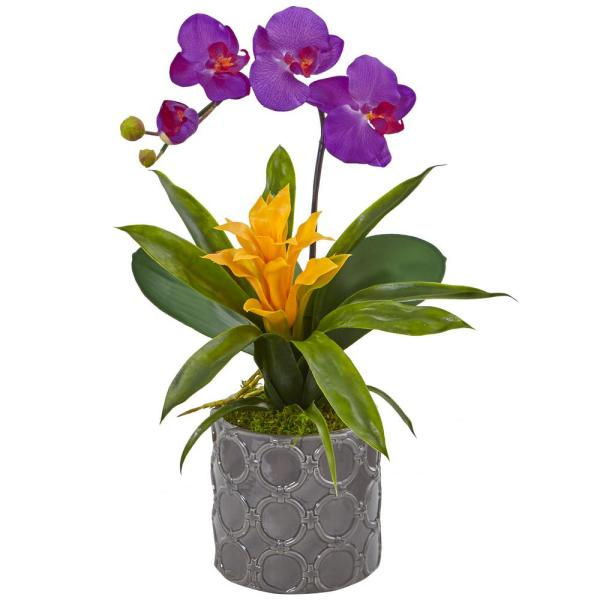Nearly Natural Mini Phalaenopsis Orchid and Bromeliad Silk Arrangement 1493-OR