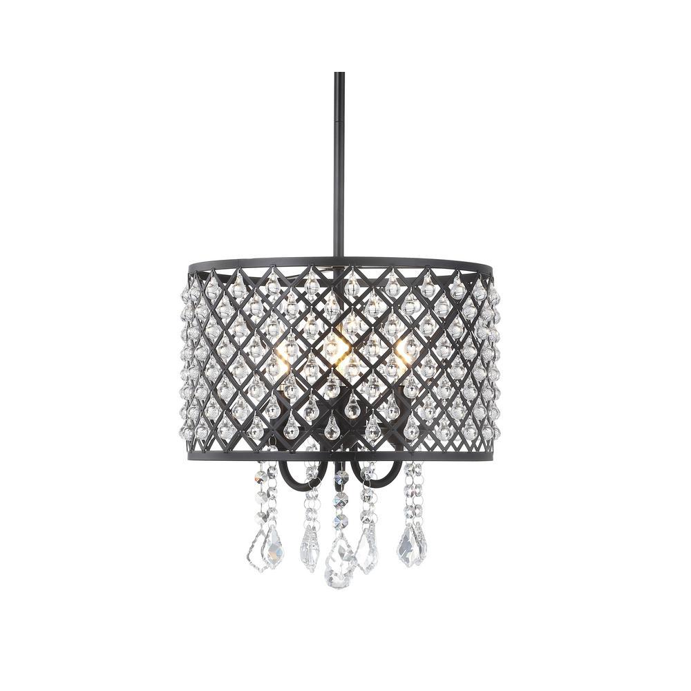 Gigi 13 in. 3-Light Black/Clear LED Drop Pendant with Adjustable Metal/Crystal