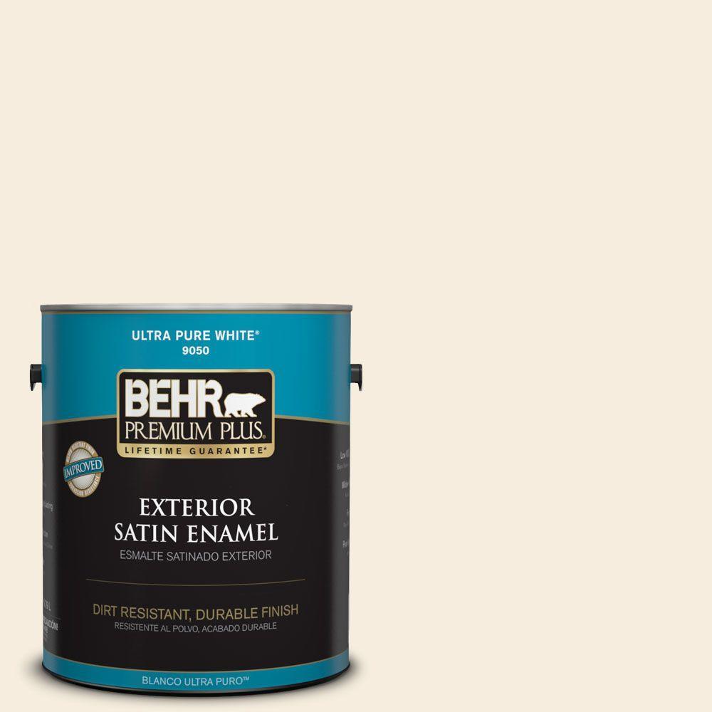 BEHR Premium Plus 1-gal. #ECC-52-2 Aristocrat Ivory Satin Enamel Exterior Paint