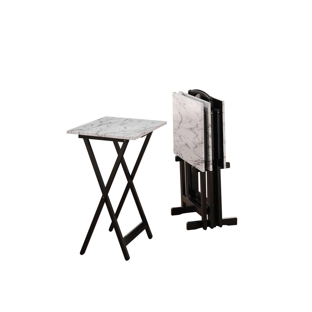 White Faux Marble Folding Tray Table