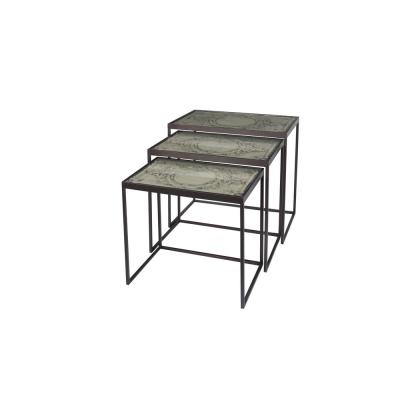 Black Metal-Framed Gray Wood Nesting Accent Tables (Set of 3)