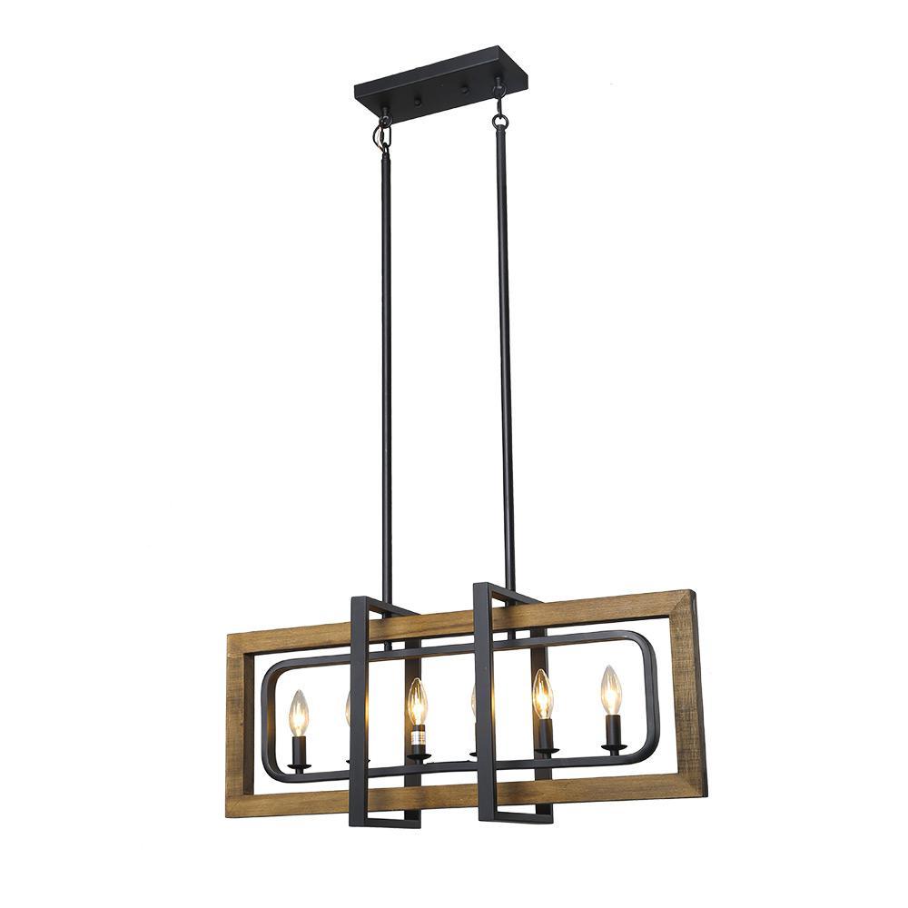 6-Light Black Geometric Wood Candle Chandelier