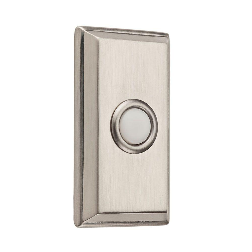 Bon Wired Rectangular Bell Button   Satin Nickel