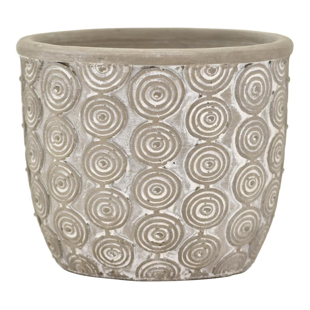 THREE HANDS 5.5 in. Gray Terracotta Planter