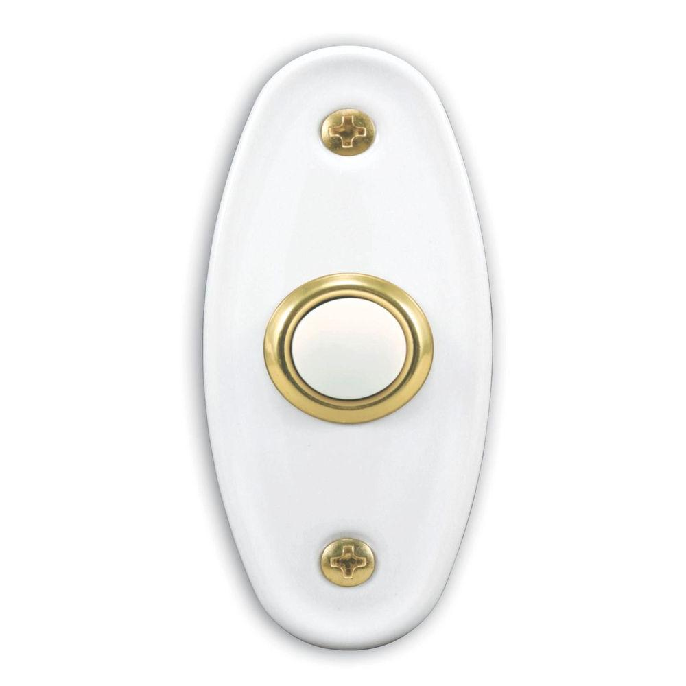 Heath Zenith Wired Polished Brass Finish Lighted Push Button with White Bar-DISCONTINUED