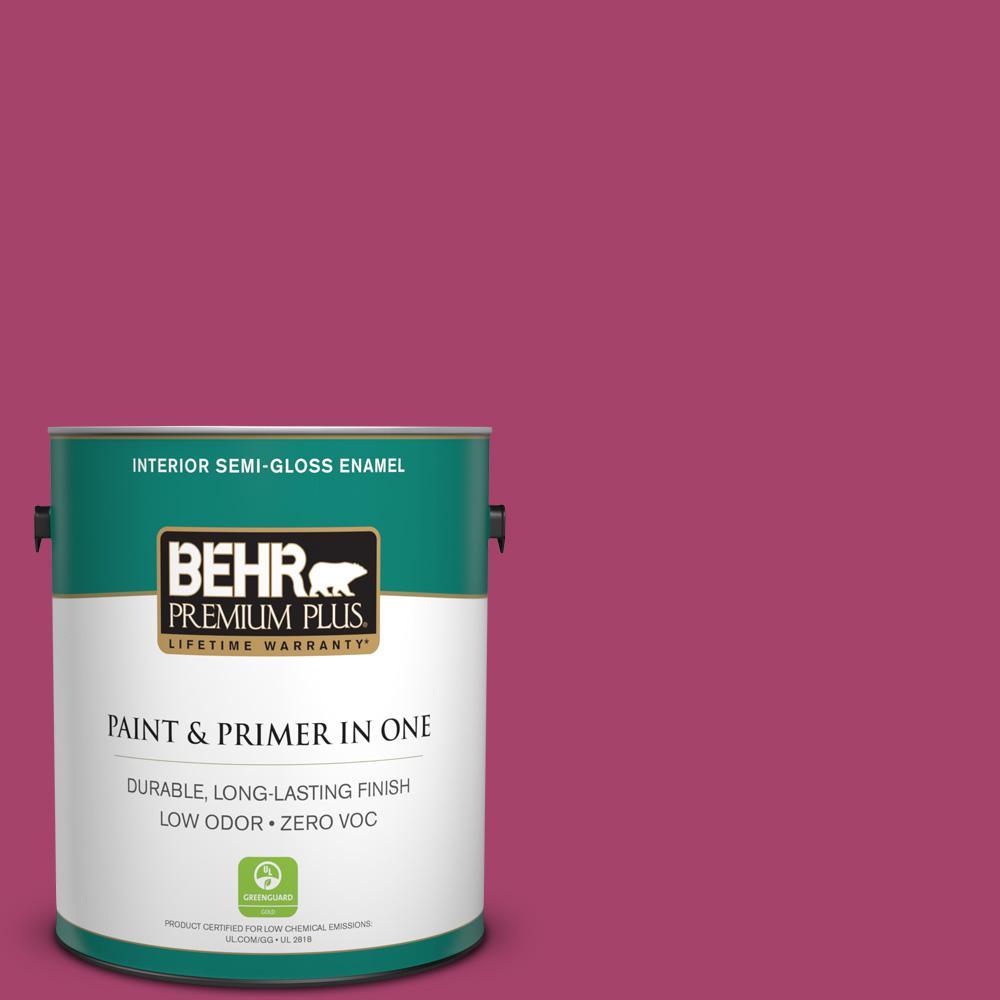 BEHR Premium Plus 1-gal. #HDC-SM14-1 Fuschia Flair Zero VOC Semi-Gloss Enamel Interior Paint