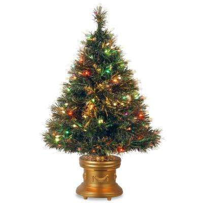 3 ft. Fiber Optic Ice Artificial Christmas Tree with Multicolor Lights