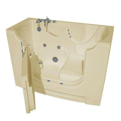 HD Series 60 in. Left Drain Wheelchair Access Walk-In Whirlpool Bath Tub with Powered Fast Drain in Biscuit