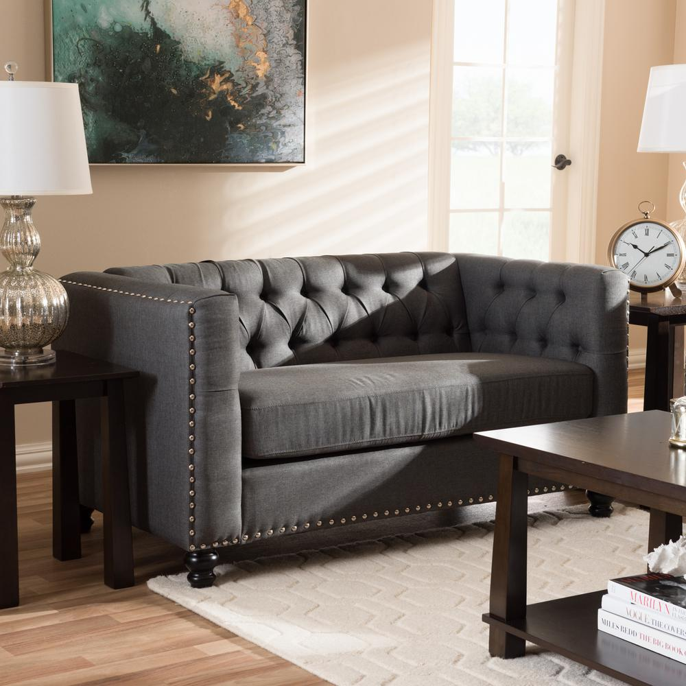 Geneva 2-Seater Gray Fabric Upholstered Loveseat