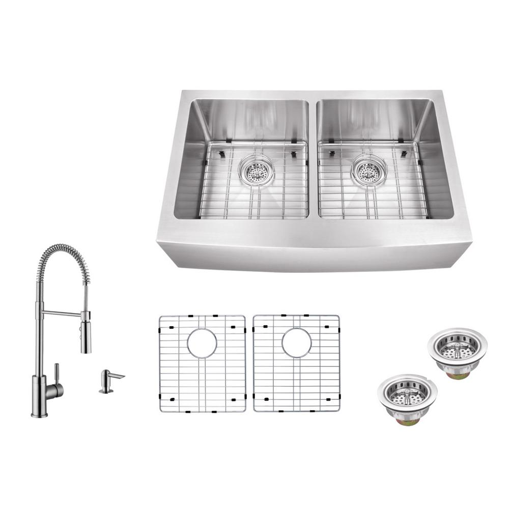 Apron Front 32-7/8 in. 16-Gauge Stainless Steel Double Bowl Kitchen Sink
