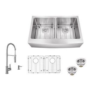IPT Sink Company Apron Front 32-7/8 inch 16-Gauge Stainless Steel Double Bowl Kitchen Sink in Brushed Stainless w/Pull... by IPT Sink Company