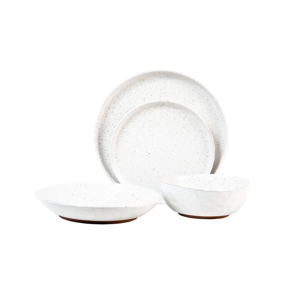 Kaya White Speckle 16-Piece Dinnerware Set