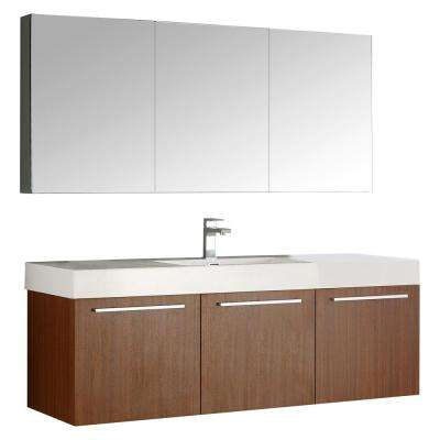 Vista 59 in. Vanity in Teak with Acrylic Vanity Top in White with White Basin and Mirrored Medicine Cabinet