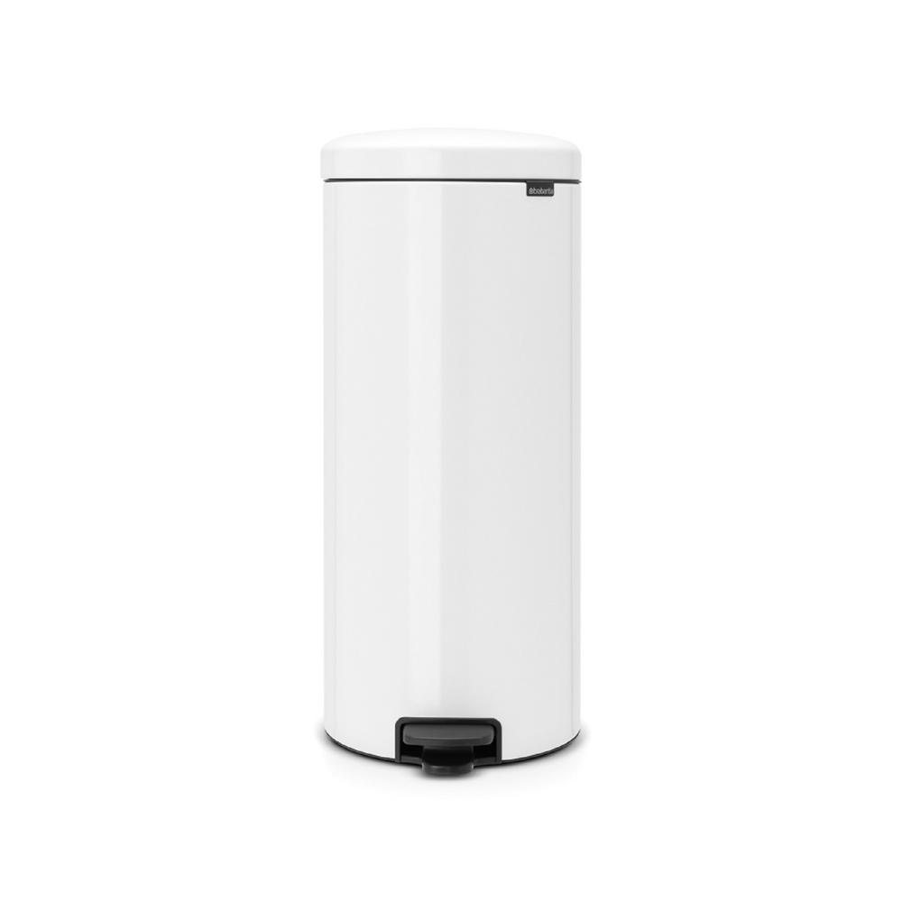 8 Gal. White Steel Step-On Trash Can