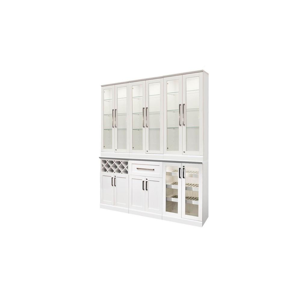Beau NewAge Products Home Bar White 7 Piece Shaker Style Bar Cabinet