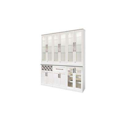 Home Bar White 7-Piece Shaker Style Bar Cabinet