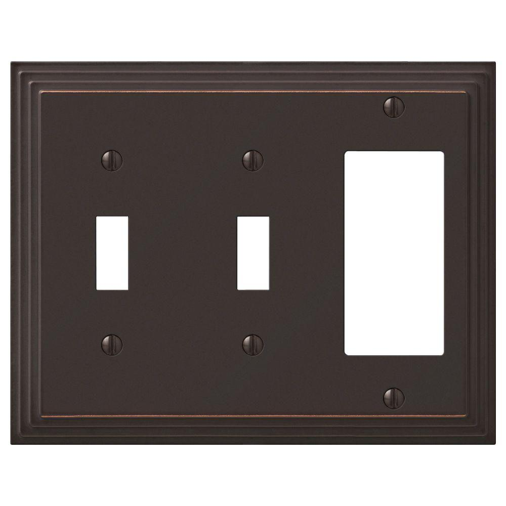 AMERELLE Tiered 3 Gang 2-Toggle and 1-Rocker Metal Wall Plate - Aged Bronze