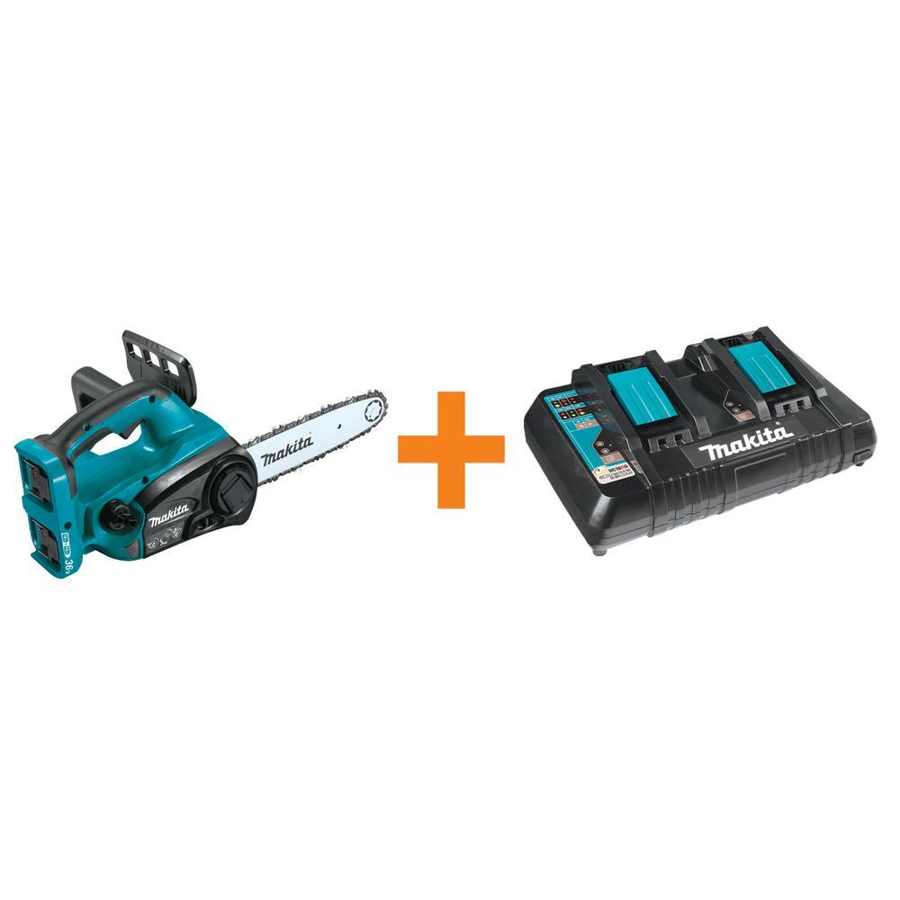 18-Volt X2 (36-Volt) LXT Lithium-Ion 12 in. Chain Saw (Tool Only) with Bonus 18-Volt LXT Dual Port Rapid Optimum Charger
