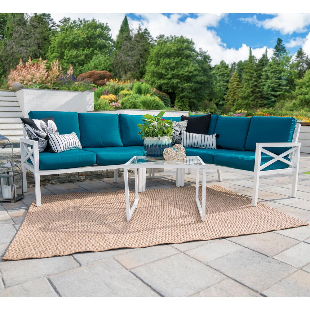 Leisure Made Blakely White 5 Piece Aluminum Outdoor Sectional Set With  Peacock Cushions