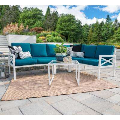 Blakely White 5-Piece Aluminum Outdoor Sectional Set with Peacock Cushions