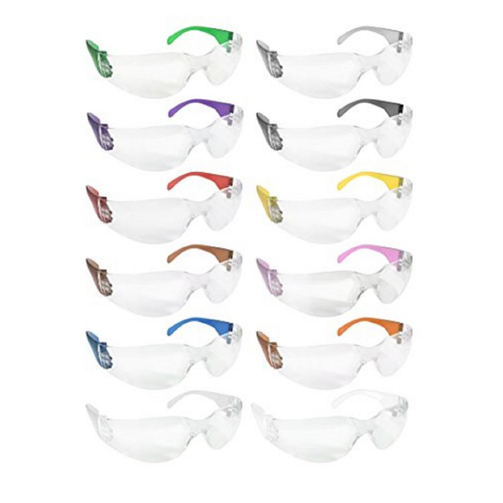 Safety Glasses, Clear Polycarbonate Lens - Color Temple, Variety Pack, Box