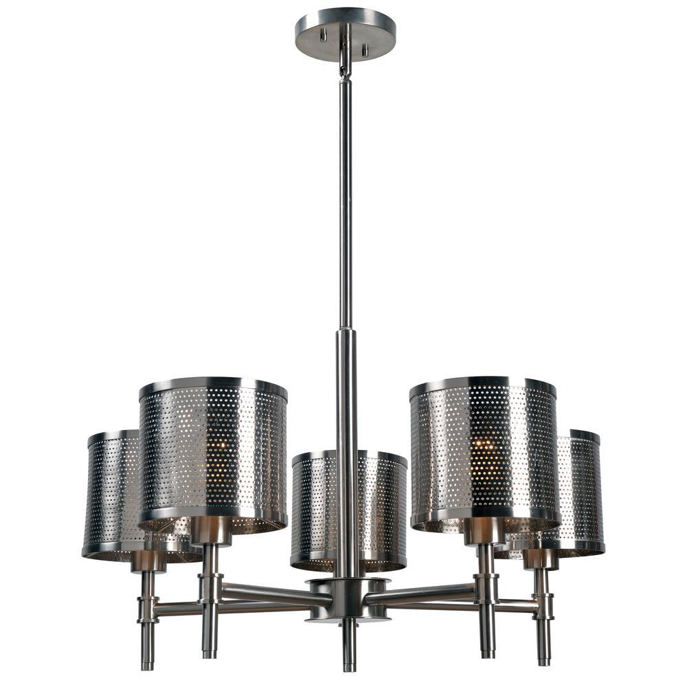Mesha 5-Light Steel Chandelier with Steel Shade