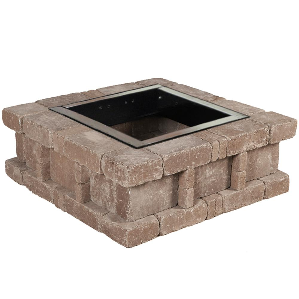 Pavestone RumbleStone 38.5 in. x 14 in. Square Concrete Fire Pit Kit No. 2 in Cafe