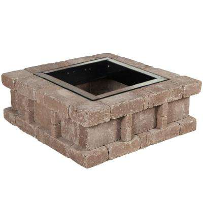 RumbleStone 38.5 in. x 14 in. Square Concrete Fire Pit Kit No. 2 in Cafe