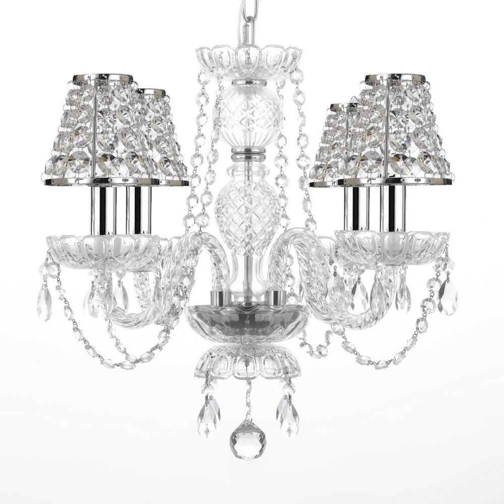4-Light Venetian Style Empress Crystal Chandelier with Chrome Candles and