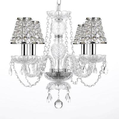 4-Light Venetian Style Empress Crystal Chandelier with Chrome Candles and Crystal Shades
