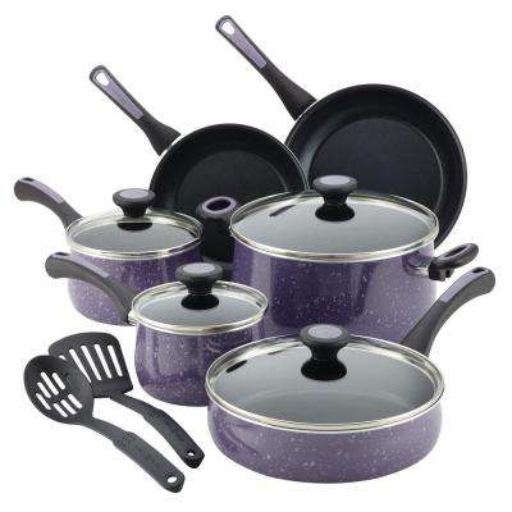 Riverbend 12-Piece Lavender Speckle Cookware Set with Lids