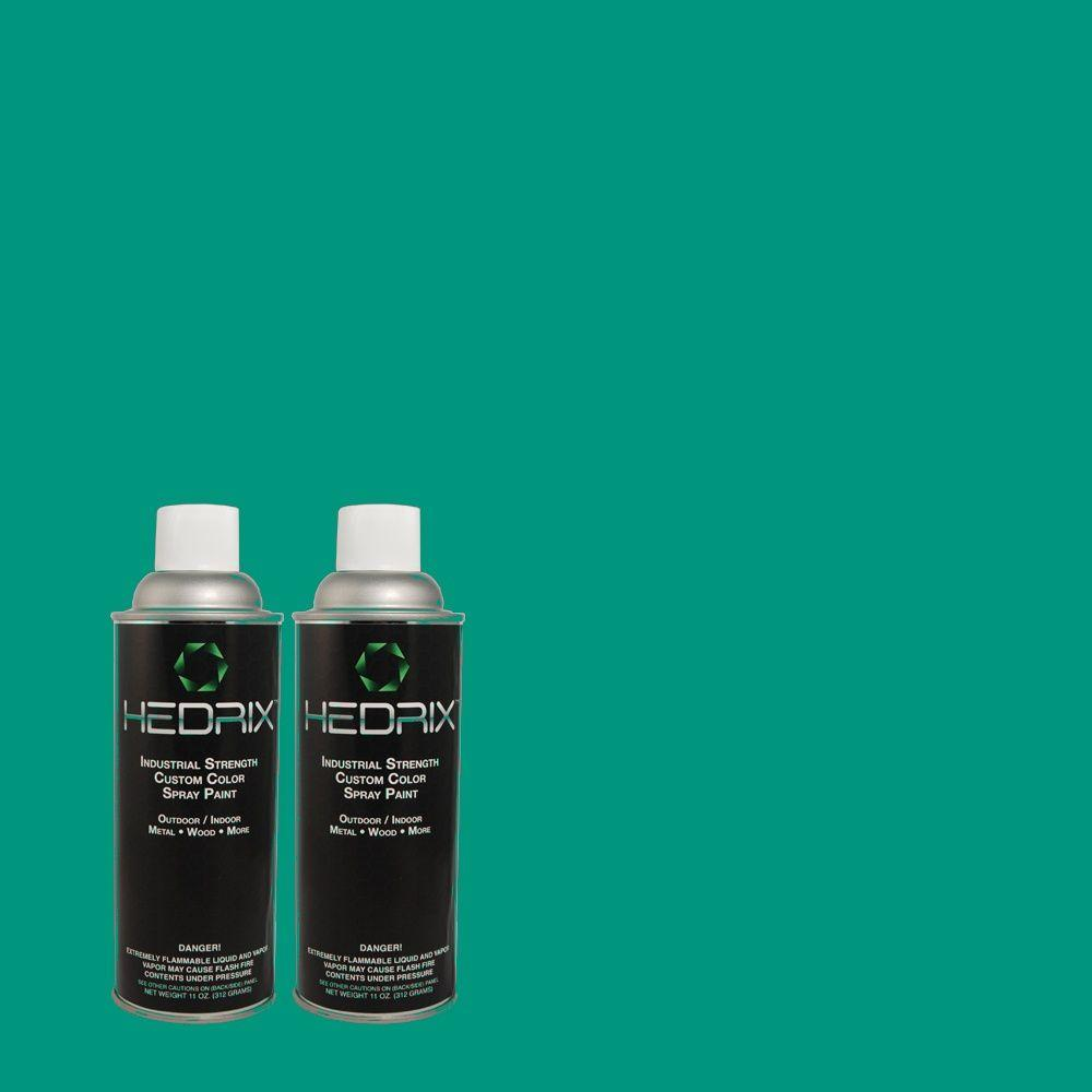Hedrix 11 oz. Match of 490B-6 Emerald Coast Low Lustre Custom Spray Paint (2-Pack)