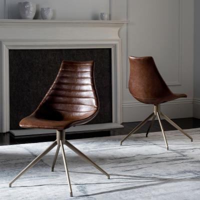 Lynette Light Brown/Brass Leather Swivel Dining Chair (Set of 2)