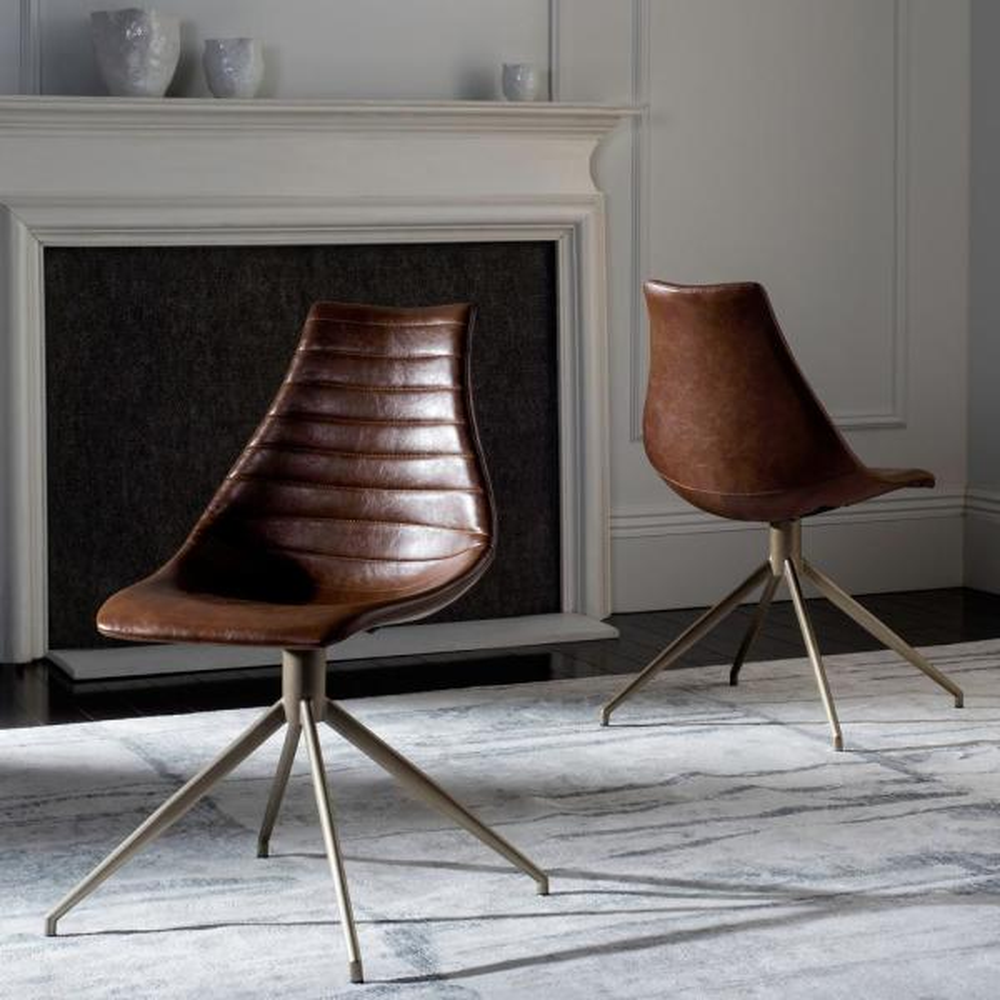 Safavieh Lynette Light Brown/Brass Leather Swivel Dining Chair (Set of 2)