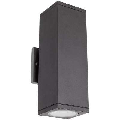 2-Light Matte Black Aluminum LED Up and Down Light Dimmable Outdoor Square Sconce, Daylight 5000K