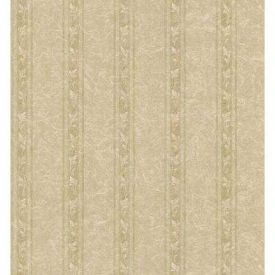 Textured Weaves Neutral Acanthus Stripe Wallpaper Sample
