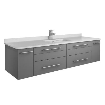 Lucera 60 in. W Wall Hung Bath Vanity in Gray with Quartz Stone Vanity Top in White with White Basin