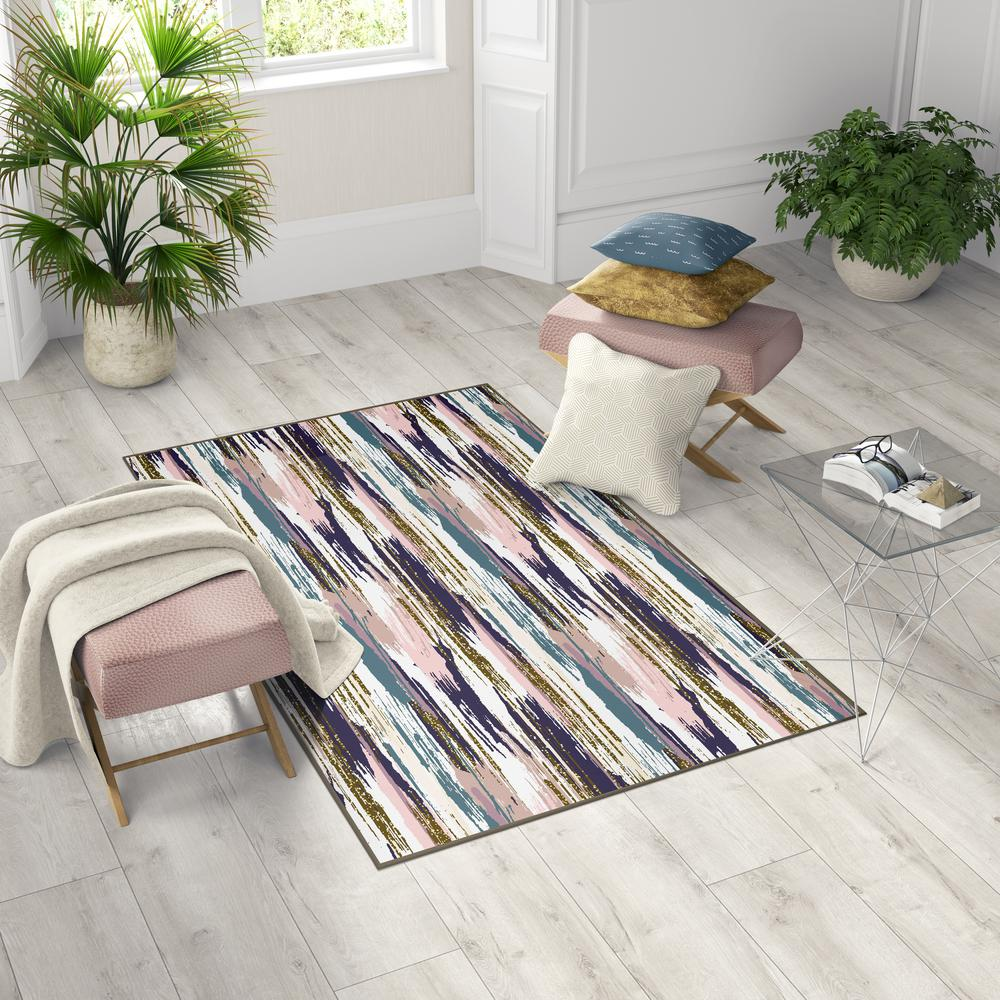 Deerlux Modern Living Room Area Rug With Nonslip Backing Abstract Brushstrokes And Glitter Pattern 4 X 6 Ft Small