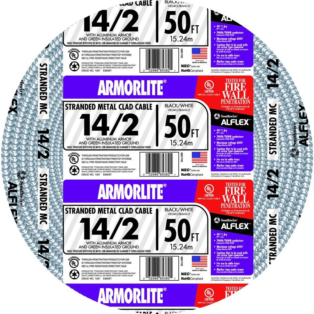 Southwire 14/2 x 50 ft. Stranded CU MC (Metal Clad) Armorlite Cable