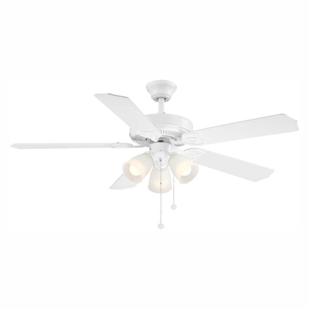 Brookhurst 52 in. LED Indoor White Ceiling Fan with Light Kit