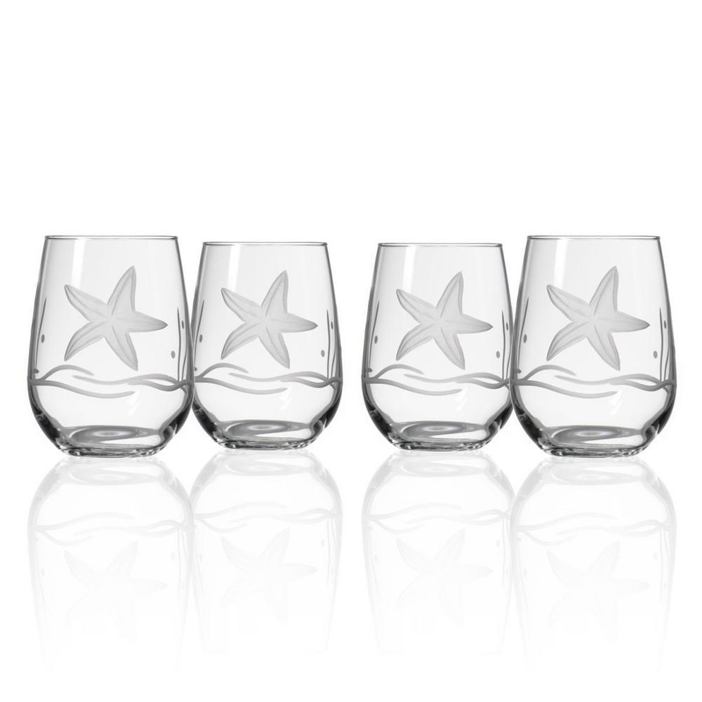 Starfish 17 oz. Clear Stemless Wine Tumbler (Set of 4)