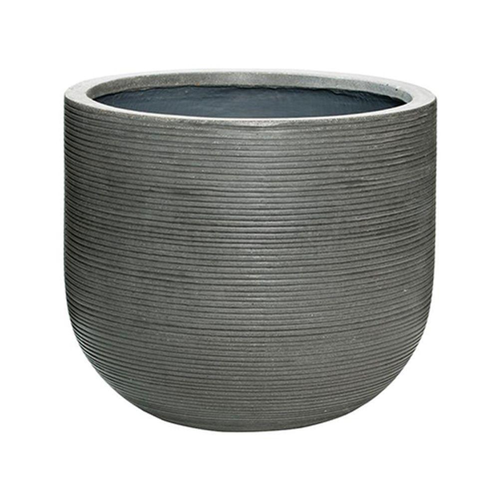 16 in. x 14 in. Rough Grey Round Fibercement Rough Pot