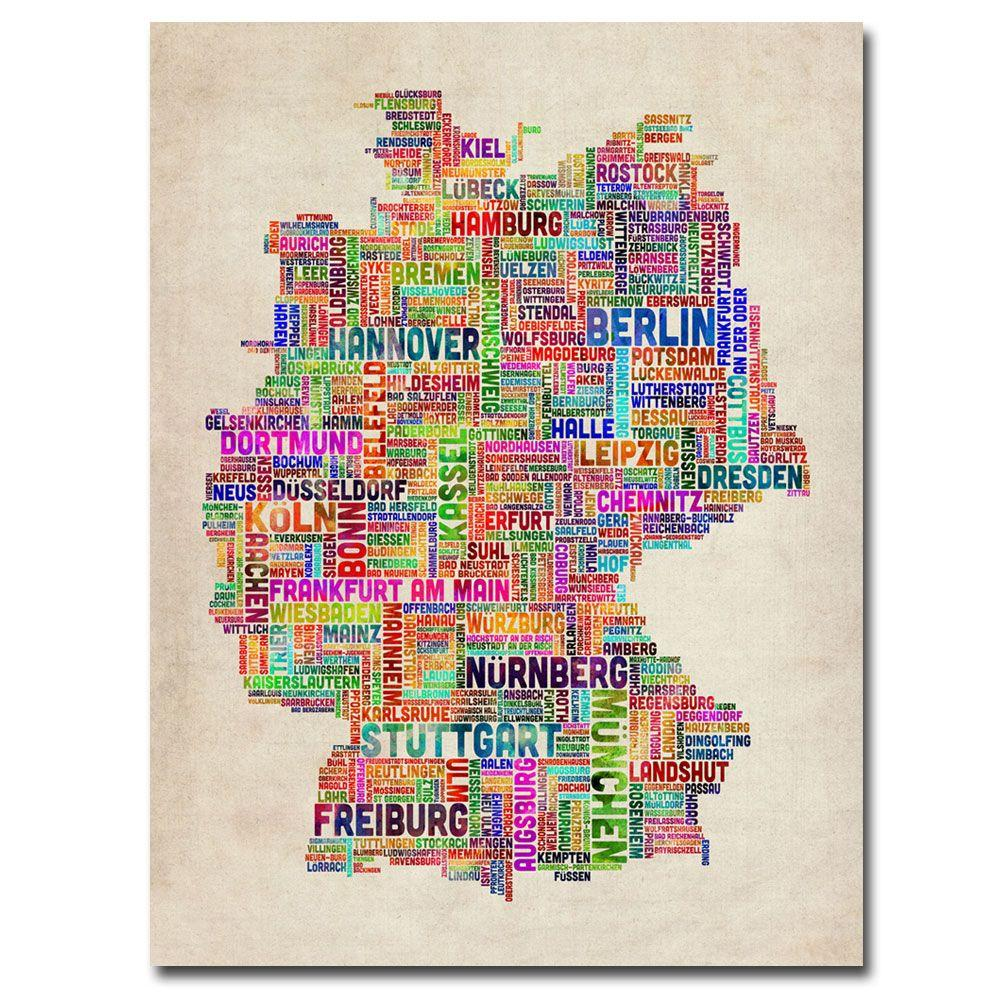 18 in. x 24 in. Germany Text Map Canvas Art