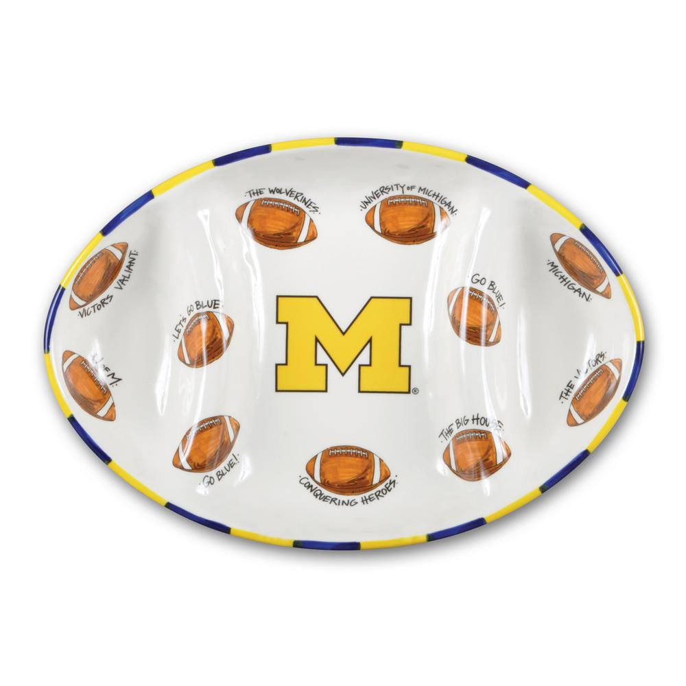 Magnolia Lane Michigan Ceramic Football Tailgating Platter 21742 The Home Depot