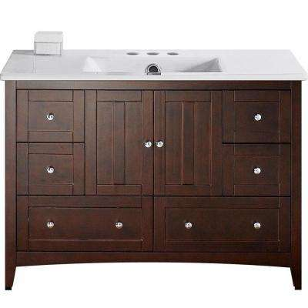 16-Gauge-Sinks 48 in. W x 18.5 in. D Bath Vanity in Walnut with Ceramic Vanity Top in White with White Basin