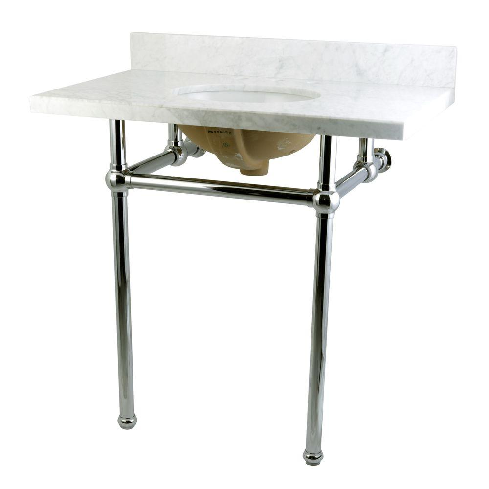 Lovely Kingston Brass Washstand 36 In. Console Table In Carrara White With Metal  Legs In Polished