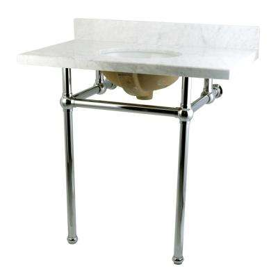 Washstand 36 in. Console Table in Carrara White with Metal Legs in Polished Chrome